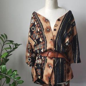 90s Ethnic Bohemian Print Button Down Top